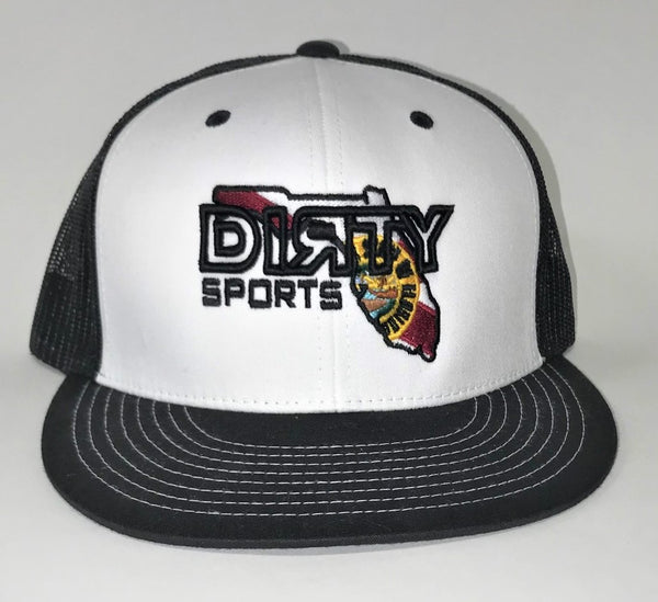 Snap Back Hat -WHITE & /BLACK- White DIRTY Florida  Logo #326