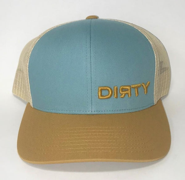 Snap Back Hat - SMOKE BLUE, AMBER GOLD & BEIGE- Small Amber Gold  DIRTY Logo #323