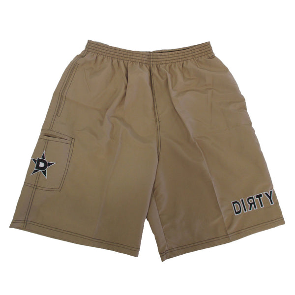 Dirty Sports, Micro Fiber Shorts - Khaki, Black logo