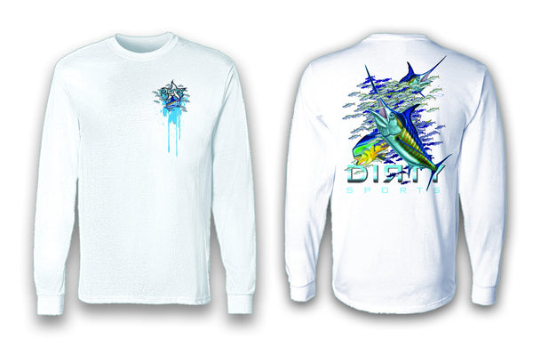 Marlin Bait School - Long Sleeve Polyester Fishing Shirt