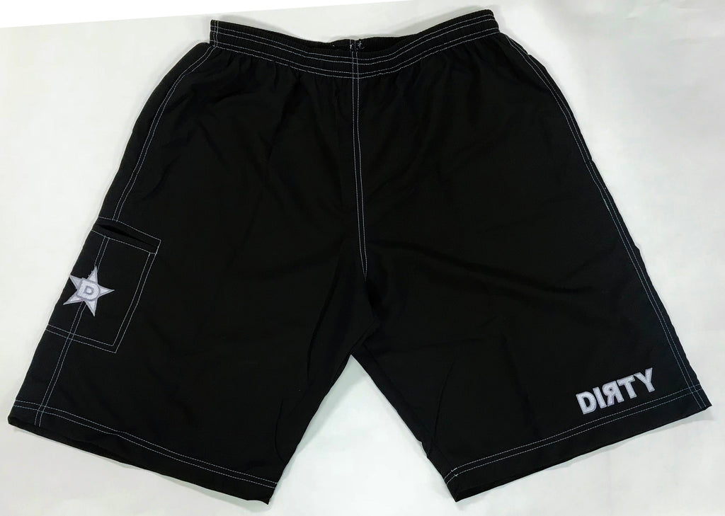 Dirty Sports, Micro Fiber Shorts - Black, White logo