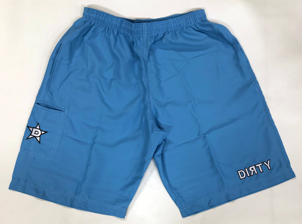 Dirty Sports, Micro Fiber Shorts -Carolina Blue , White logo