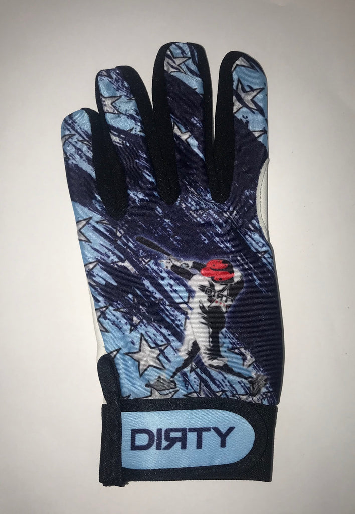 Dirty Sports, Batting Gloves - Baseball Player, Blue, White and Black