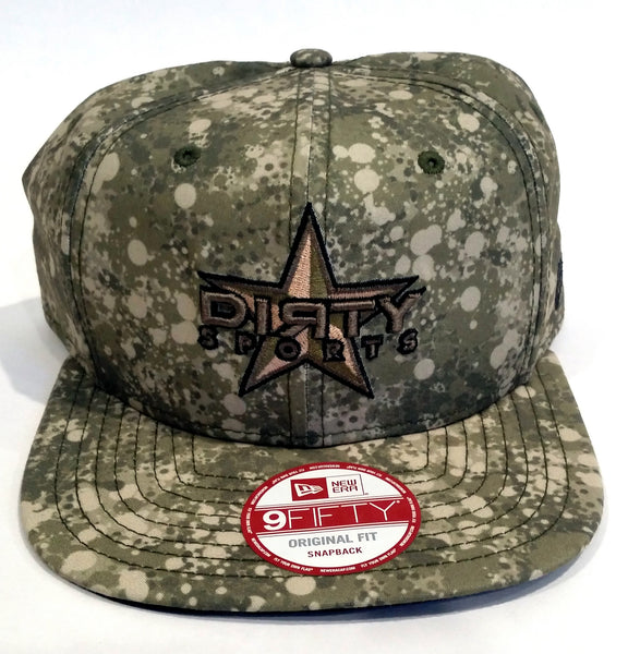 New Era 9FIFTY Snap-Back Hat - Green Tan CAMO SPATTER -DIЯTY Star Logo #156