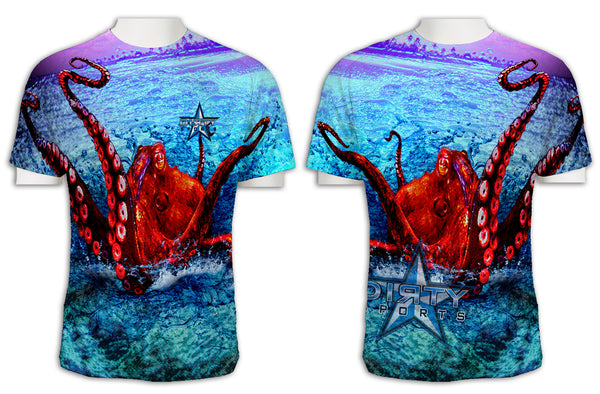 Octopus Undertow FULL - Short Sleeve Polyester Shirt