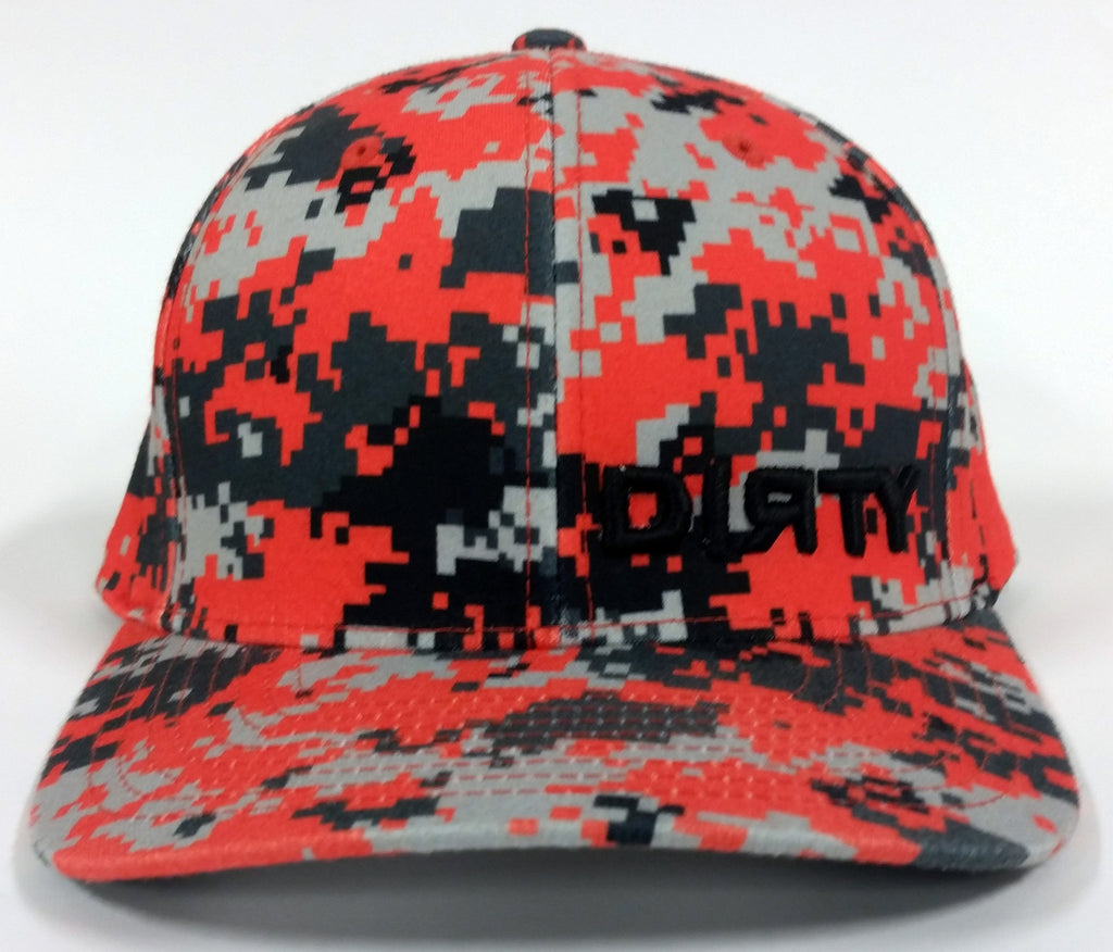 #72 Digital Orange Camo Hat - Small BLACK DIRTY Logo