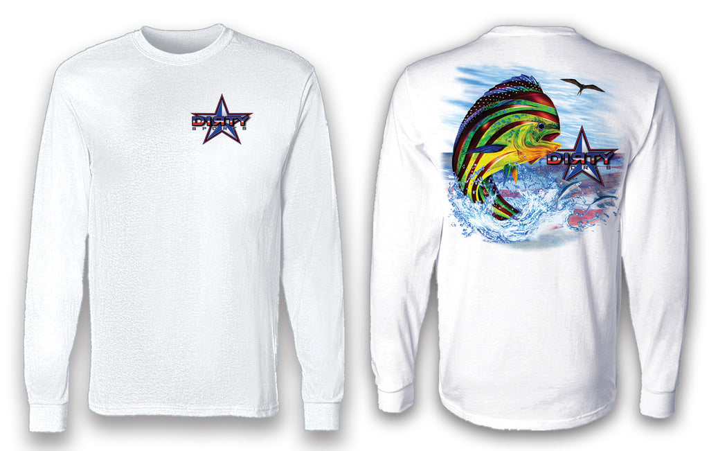 Patriotic Mahi Mahi - Long Sleeve Polyester Fishing Shirt