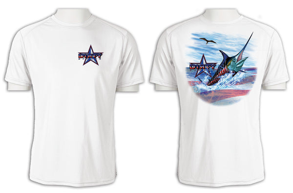 Patriotic Marlin - Short Sleeve Polyester Shirt