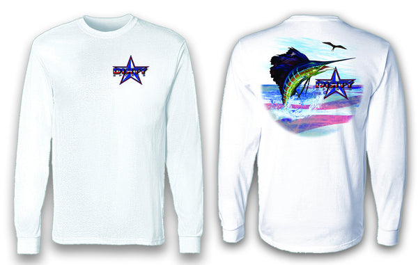 Patriotic Sailfish - Long Sleeve Polyester Fishing Shirt
