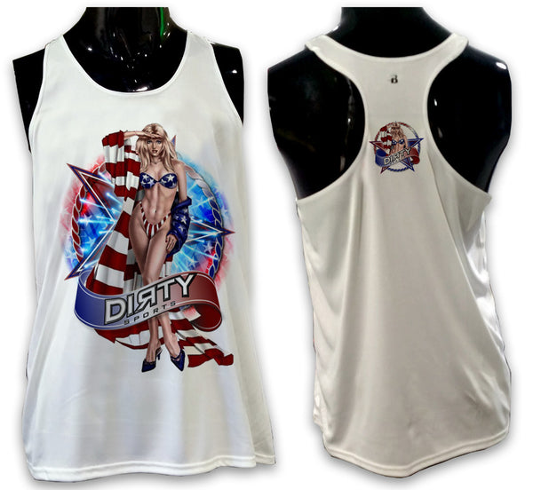Pin Up Girl, USA Salute- Ladies Tank Top