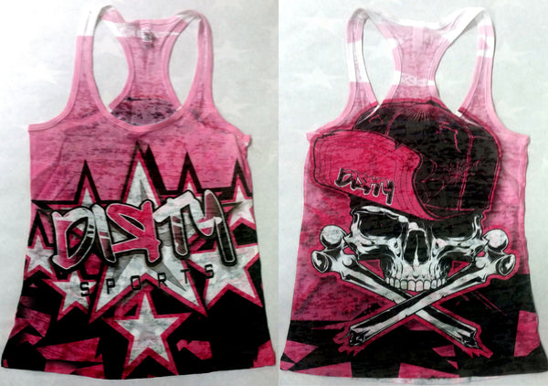 Women's Pink TANK w/DIRTY Star Logos on Front, Skull in Flip Hat on Back