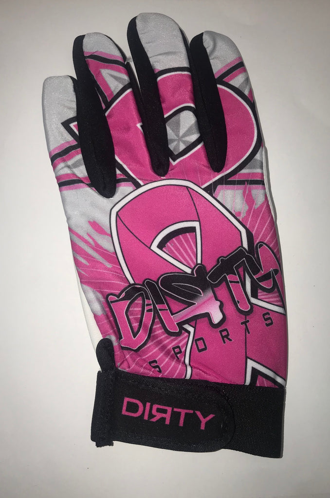 Dirty Sports, Batting Gloves - Pink, Cancer Awareness Ribbon