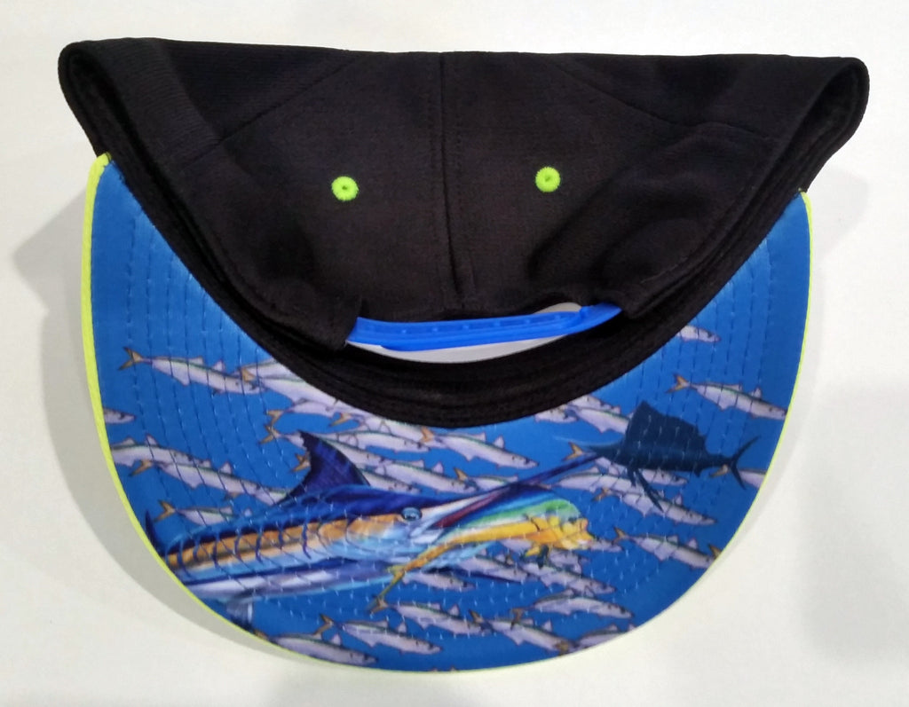 Pukka Snap-Back Hat - Black Yellow Blue Graffiti Logo - w/Dye Sub FISH Visor #159