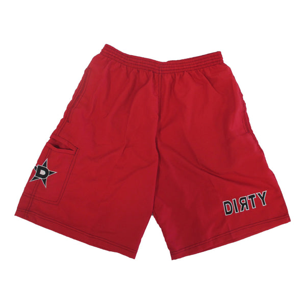 Dirty Sports, Micro Fiber Shorts - Red, Black logo