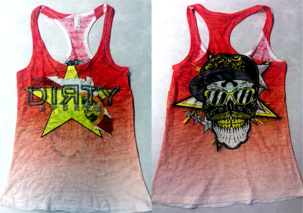 Women's Red Burnout TANK w/Florida Star logo, Mustache Skull on Back