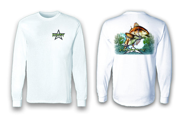 Redfish Leap - Long Sleeve Polyester Fishing Shirt
