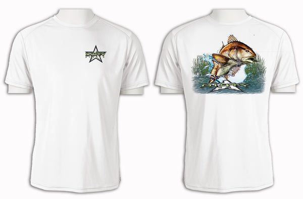 Redfish Leap - Short Sleeve Polyester Shirt
