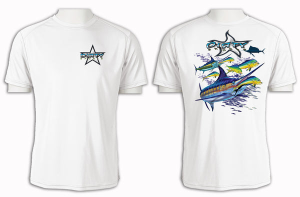 Sailfish with Dolphin - Short Sleeve Polyester Shirt