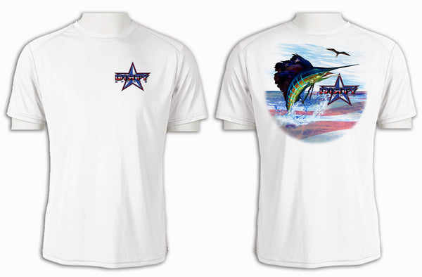 Patriotic Sailfish - Short Sleeve Polyester Shirt