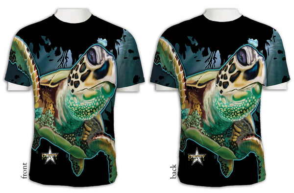 Sea Turtle, Full-Press - Short Sleeve Polyester Shirt