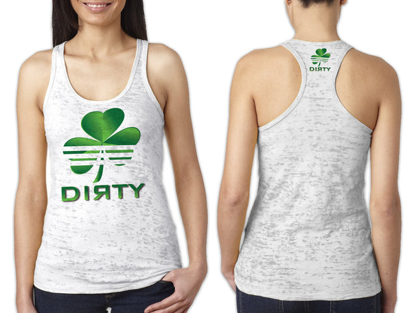 Women's White Burnout TANK - Shamrock Dirty