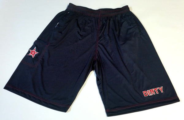 Dirty Sports, Micro Fiber Shorts - Navy Blue, Red logo
