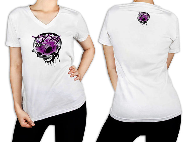 Women's White T-Shirt - Skull Purple 2