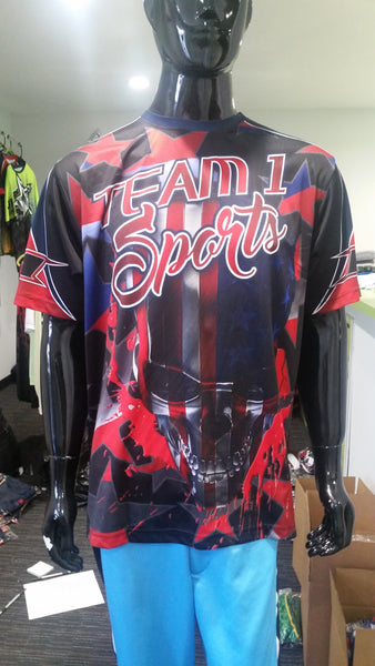 Team 1 Sports, Red White Blue Skull - Custom Full-Dye Jersey