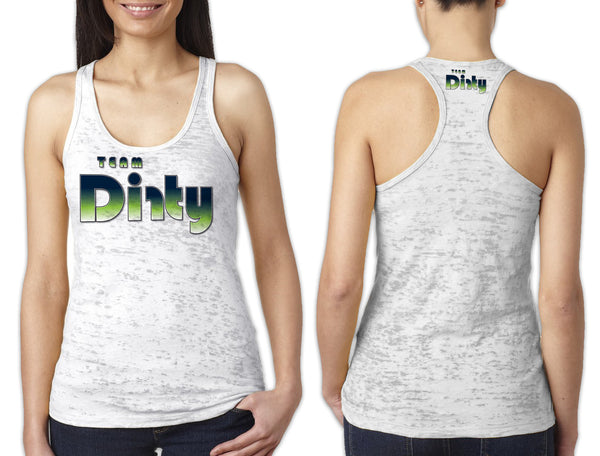 Women's White Burnout TANK - Team Dirty Retro Green Fade