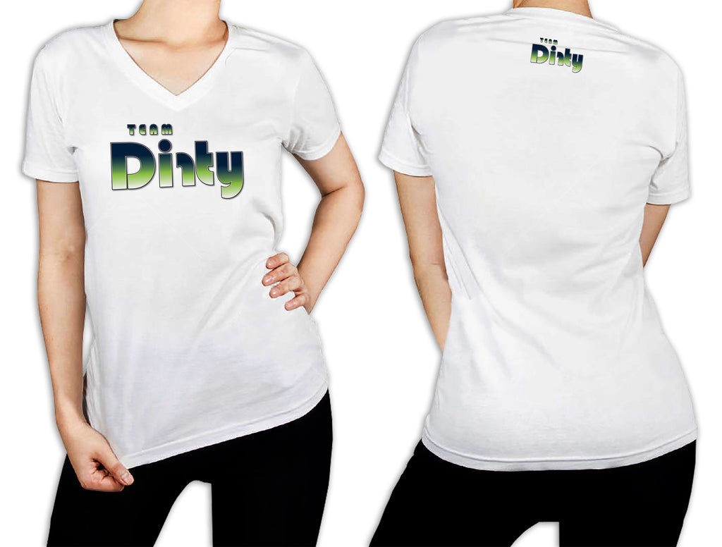 Women's White T-Shirt - Team Dirty Retro Green Fade