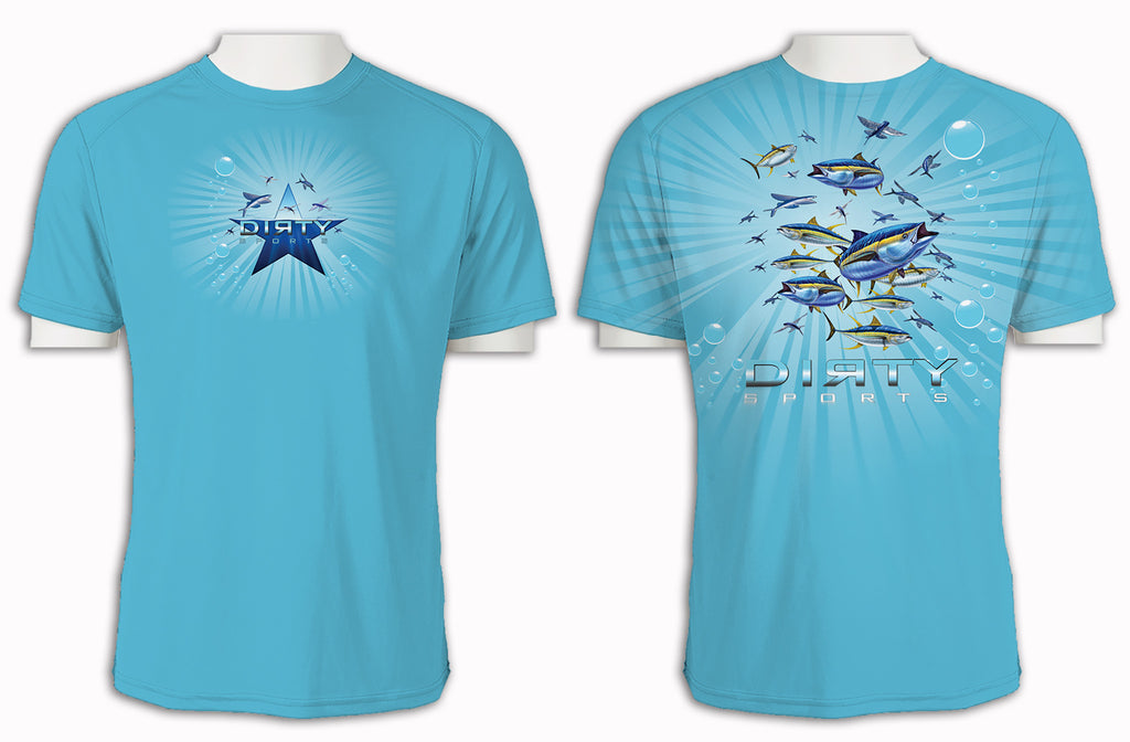 Tuna & Flying Fish, baby blue, full coverage - Short Sleeve Polyester Shirt
