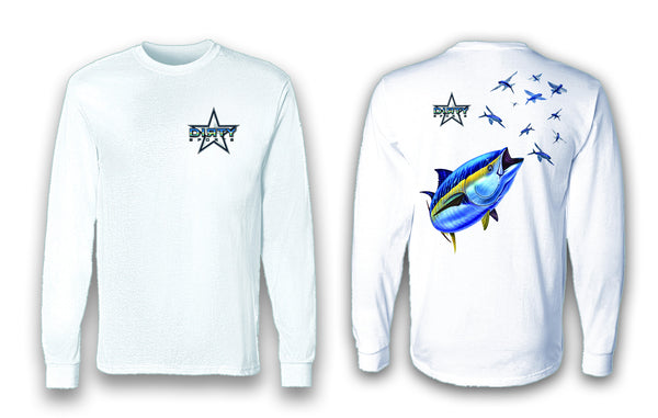 Tuna with Flying Fish - Long Sleeve Polyester Fishing Shirt