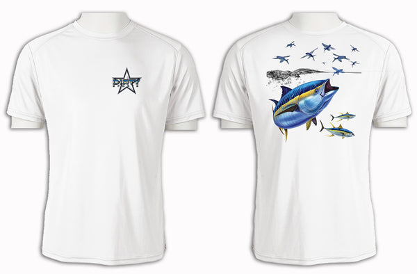 Tuna with Flying Fish - Short Sleeve Polyester Shirt
