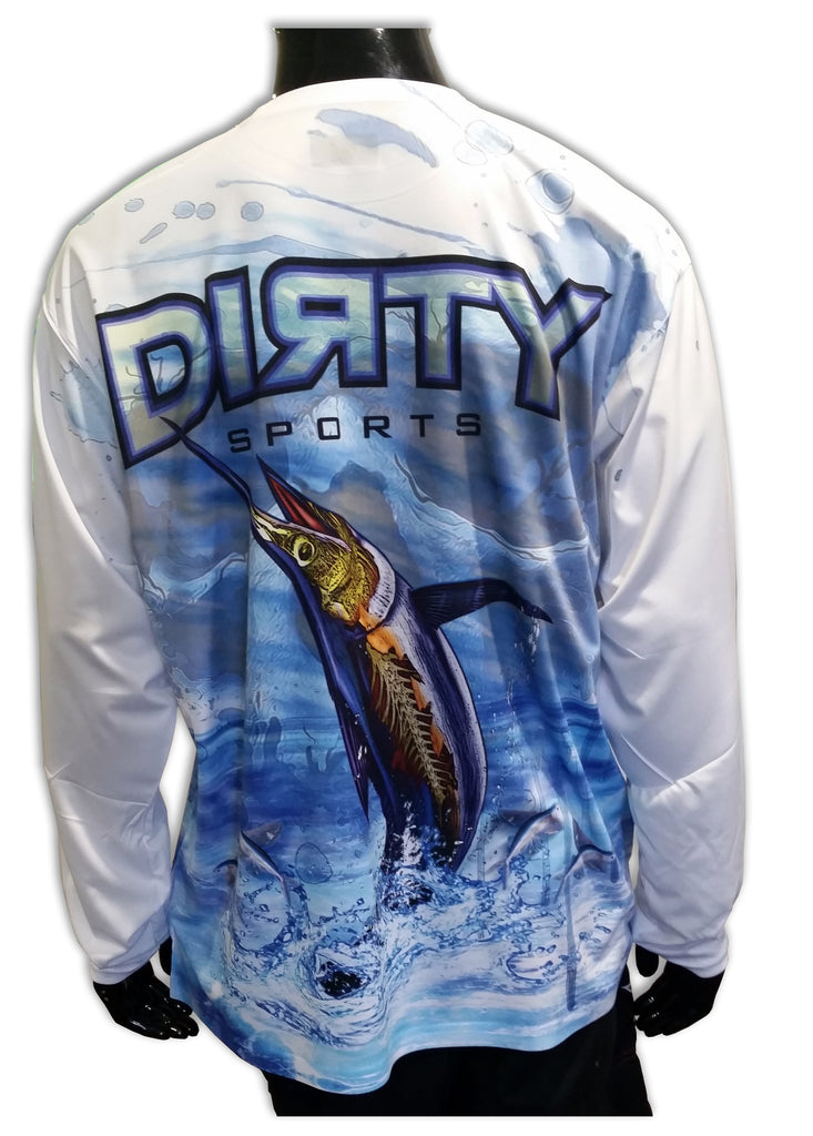 Undead Marlin with Skull FULL - Long Sleeve Polyester Shirt