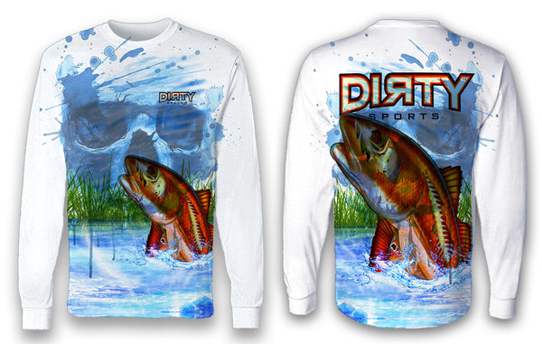 Undead Redfish with Skull FULL - Long Sleeve Polyester Shirt