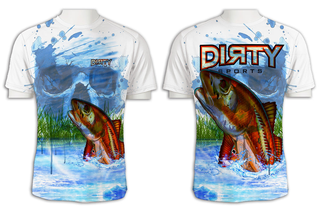 Undead Redfish with Skull FULL - Short Sleeve Polyester Shirt