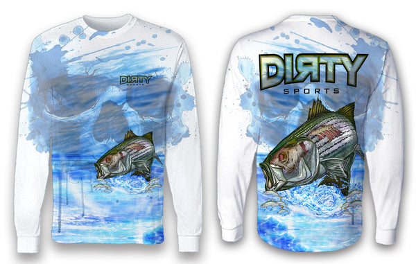Undead Sea Bass with Skull FULL - Long Sleeve Polyester Shirt