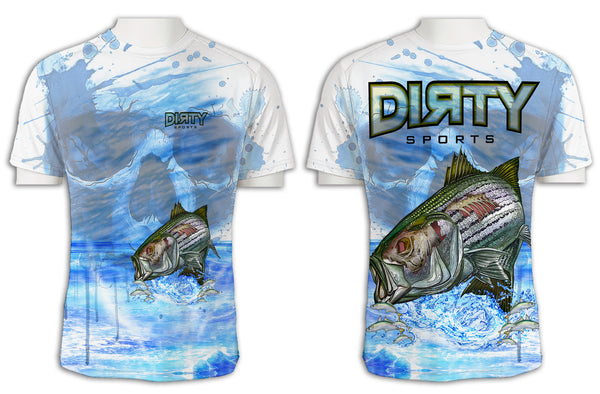 Undead Sea Bass with Skull FULL - Short Sleeve Polyester Shirt