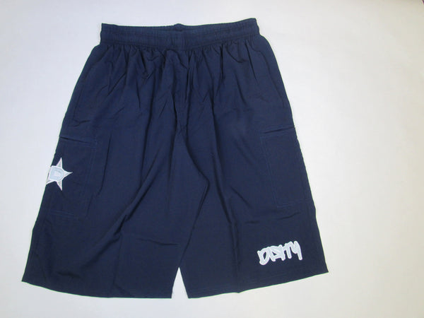 4-WAY STRETCH SHORT- Navy Blue with White Dirty Graffiti Logo