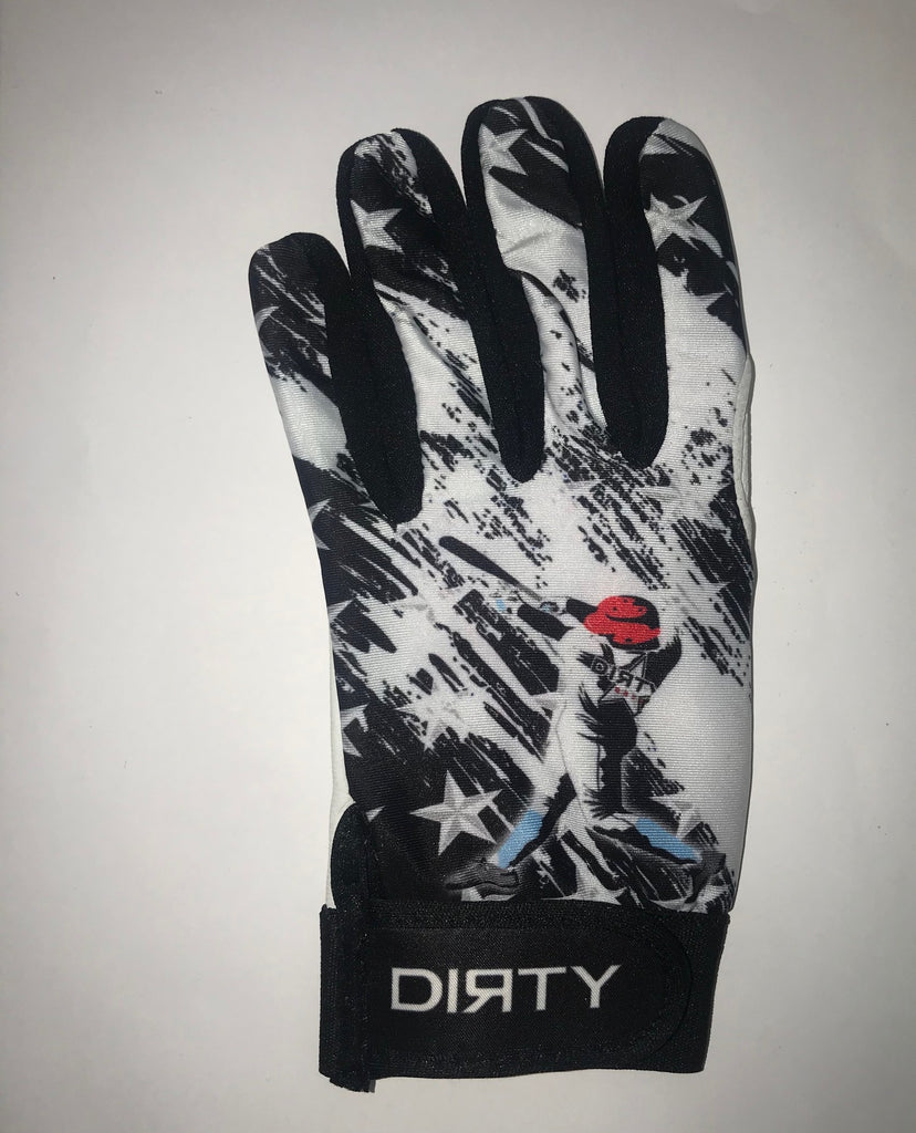 Dirty Sports, Batting Gloves - Baseball Player - Black and White