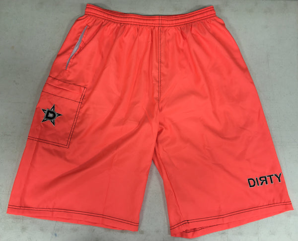 Dirty Sports, Micro Fiber Shorts - Neon Orange, Black logo