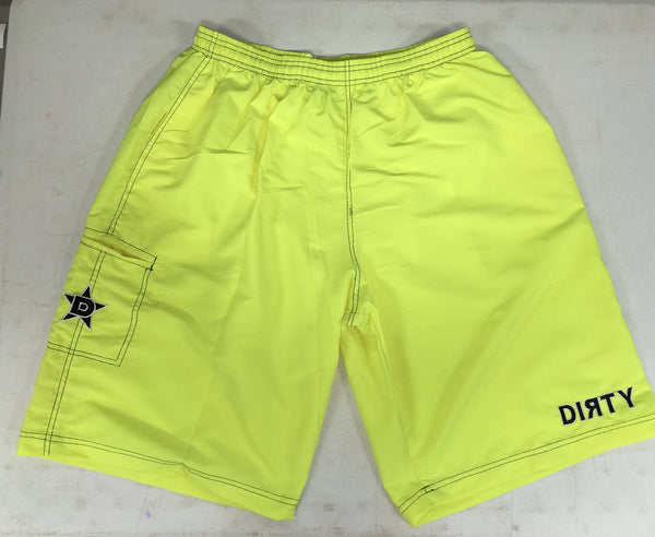 Dirty Sports, Micro Fiber Shorts - Neon Yellow, Black logo