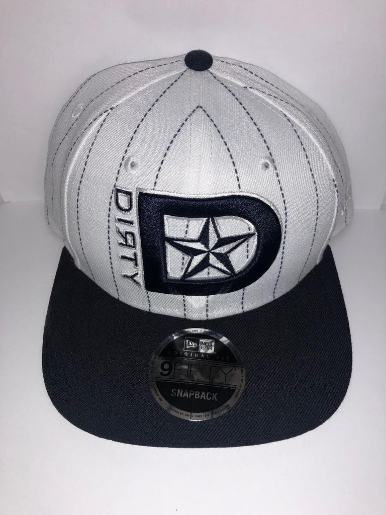 #251 White and Navy Snap-Back Hat - White and Navy DIRTY STAR Logo