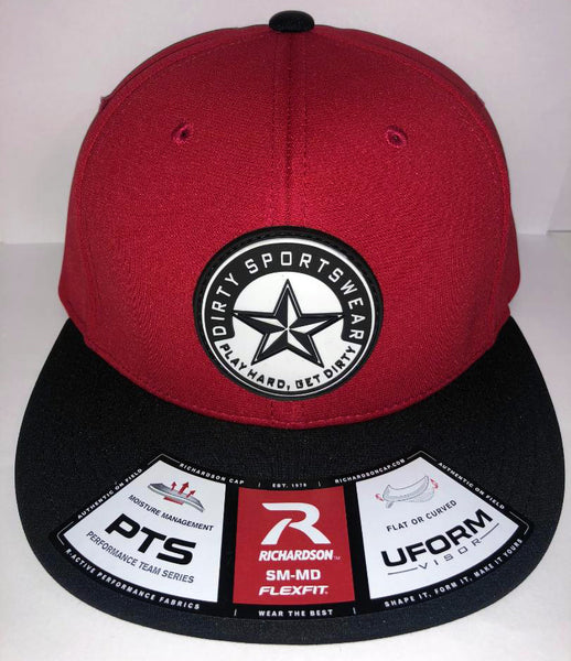 #261 Red & Black Hat - Dirty Sports Star Rubber Patch