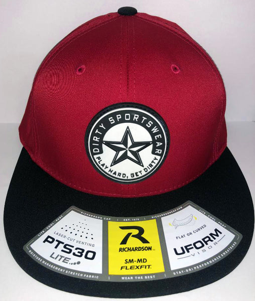 #262 Red & Black Laser-Cut Venting Hat - Dirty Sports Star Rubber Patch