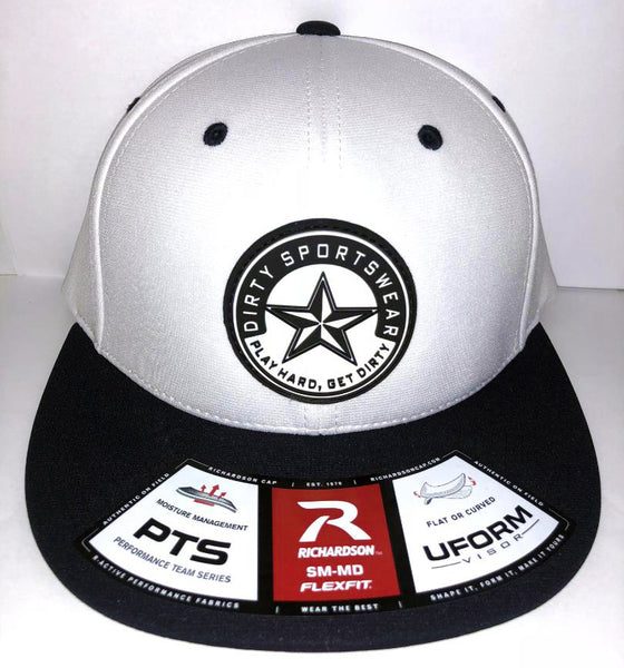 #263 White & Navy Hat - Dirty Sports Star Rubber Patch