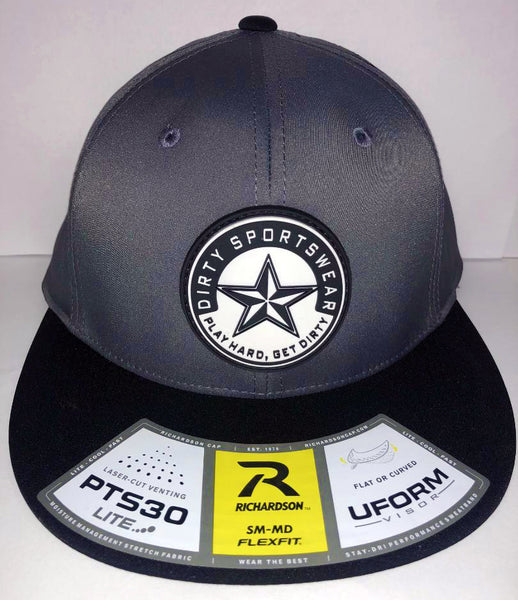 #264 Graphite & Black Laser-Cut Venting Hat - Dirty Sports Star Rubber Patch