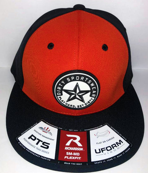 #265 Orange & Black Hat - Dirty Sports Star Rubber Patch