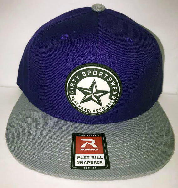 7ec420a992936  275 Purple and Grey Hat - Dirty Sports Star Rubber Patch
