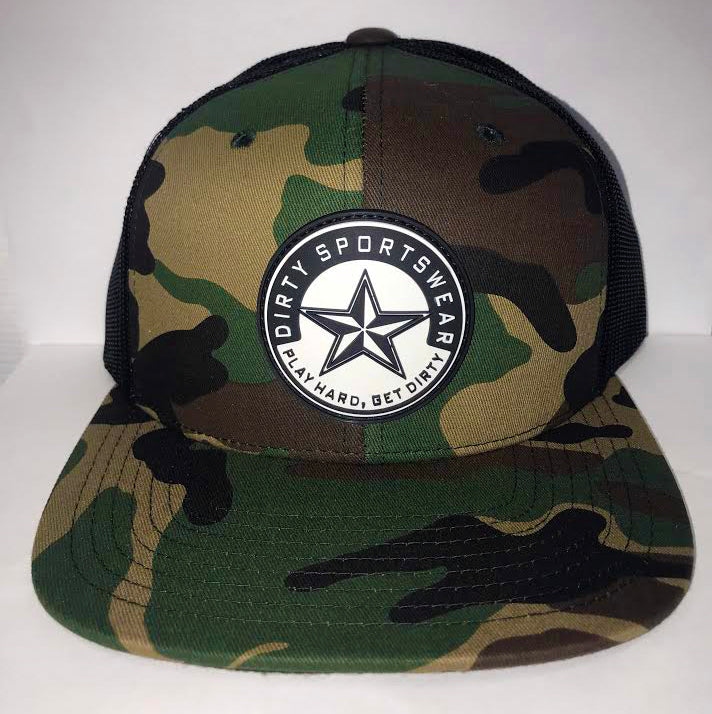 #279 Camo & Black Mesh Hat -Dirty Sports Star Rubber Patch